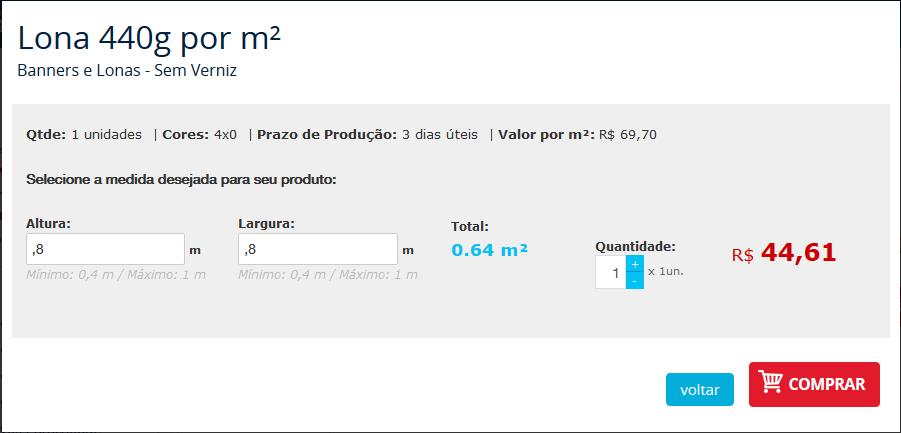 Lona por m² - confirme o preço