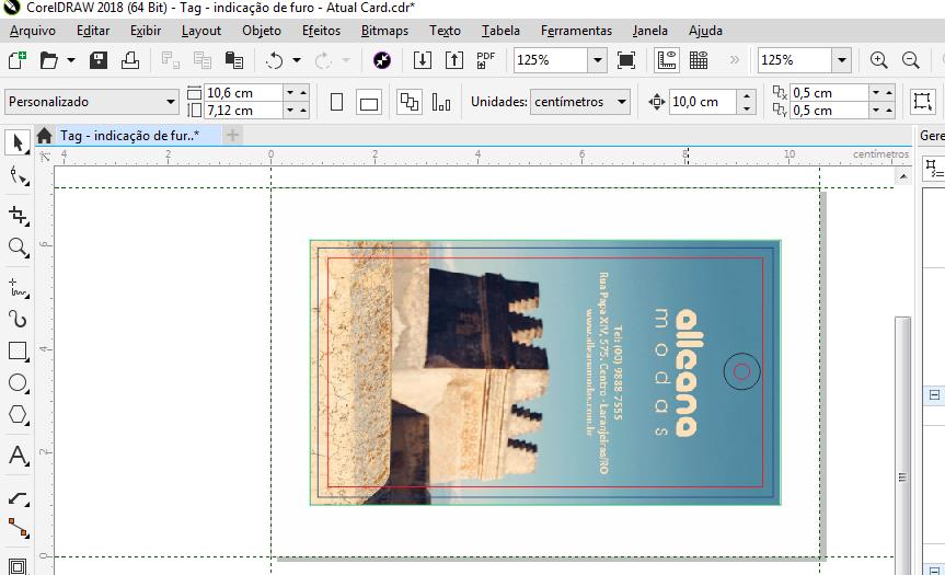 Tag | Indicacao de furo e contorno no Verso l Instrucoes Grafica Atual Card