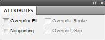 janela Attributes ativar Overprint Fill