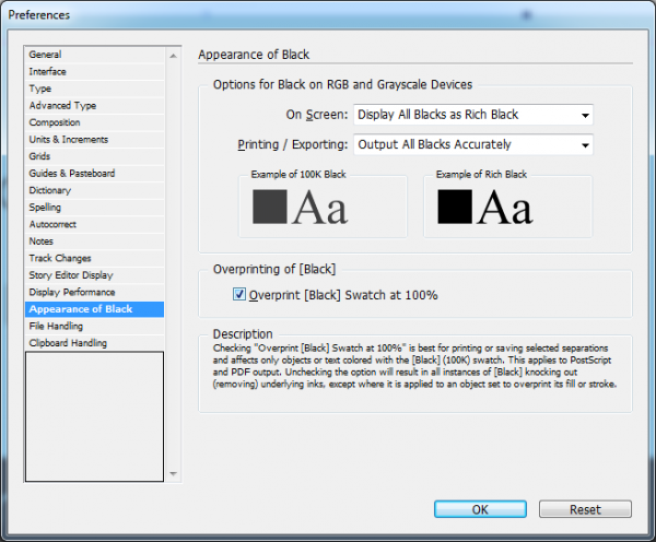 ajustes de preto no Indesign>menu Edit > Preferences > Appearence of Black.
